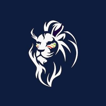 Logo lion blanc avec vecteur libre