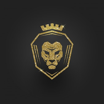 Logo de lion d'or scintillant - illustration.