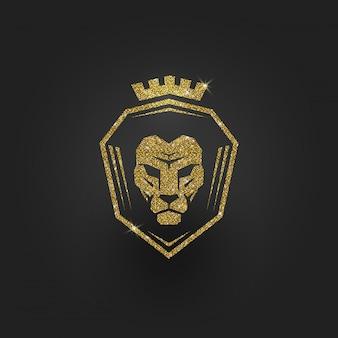 Logo De Lion D'or Scintillant - Illustration. Vecteur Premium