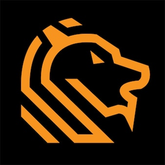 Logo lion avec thème mot et droit