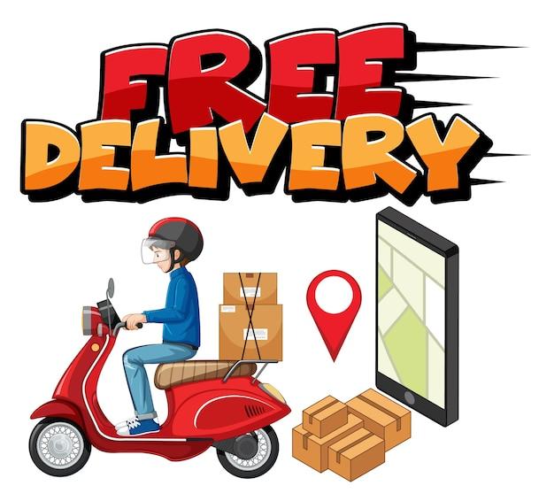 Logo de livraison gratuite avec homme de vélo ou coursier