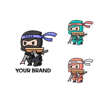Logo de livraison de petit ninja pizza