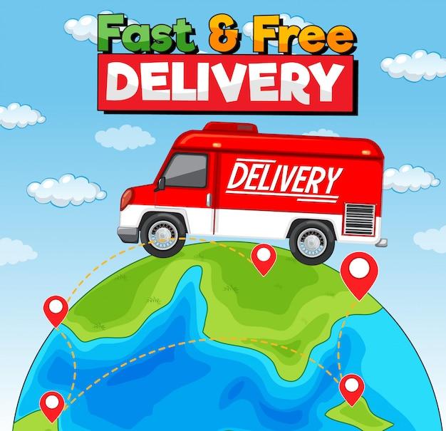 Logo de livraison rapide et gratuit avec camionnette ou camion de livraison