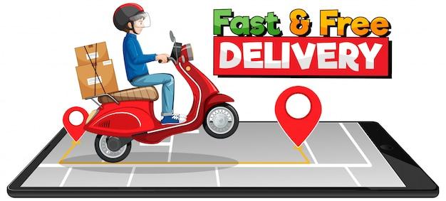 Logo de livraison rapide et gratuit avec un homme à vélo ou un courrier