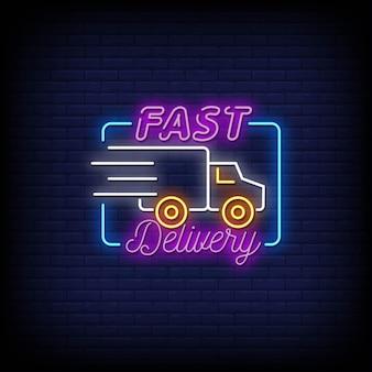 Logo de livraison rapide, texte de style d'enseignes au néon
