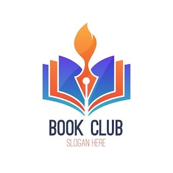 Logo de livre dégradé avec slogan