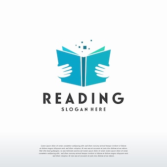 Le logo de livre de lecture conçoit le vecteur de concept, modèle de logo d'éducation