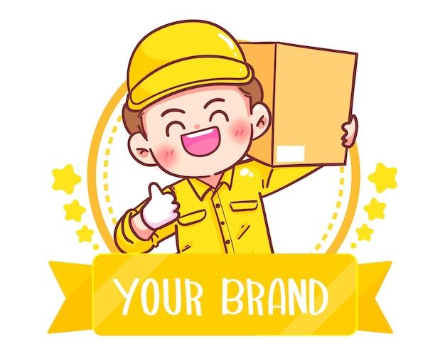 Logo de livreur heureux