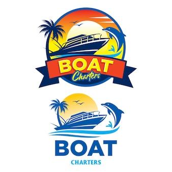 Logo de location de bateau, insigne de voyage et de vacances