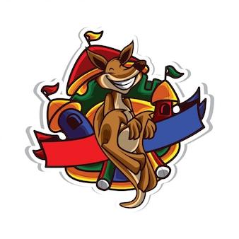 Logo de location de fête kangourou