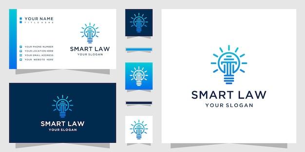 Logo de loi intelligente avec combinaison de style art en ligne du logo pilier et ampoule