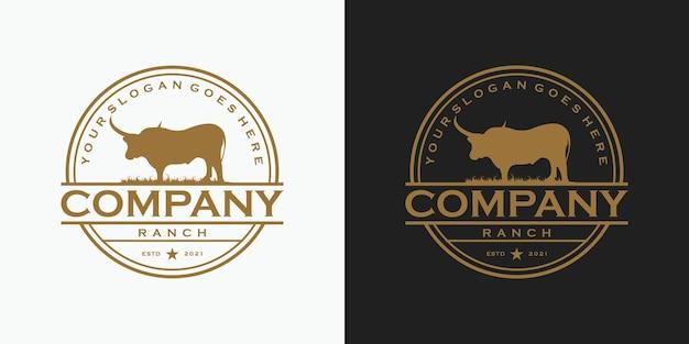 Logo de longhorn vintage, logo pour référence de ranch et de ferme