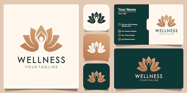 Logo de lotus combiné humain yoga doré. logotype d'équilibre de fleur de personne de fil.