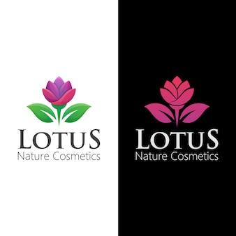 Logo de lotus de fleur naturelle avec deux versions