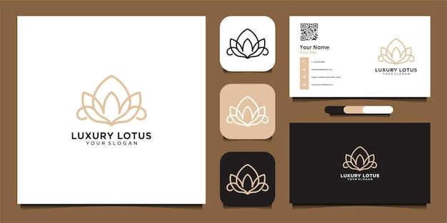 Logo de lotus de luxe et carte de visite bon usage pour le spa de mode et le logo de salon de beauté vecteur premium