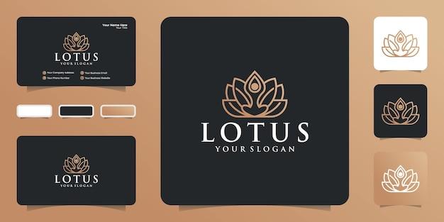 Logo lotus. modèles de conception de beauté et de mode de style linéaire et cartes de visite