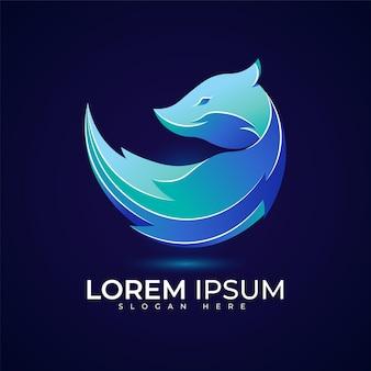 Logo de loup avec une belle couleur dégradée