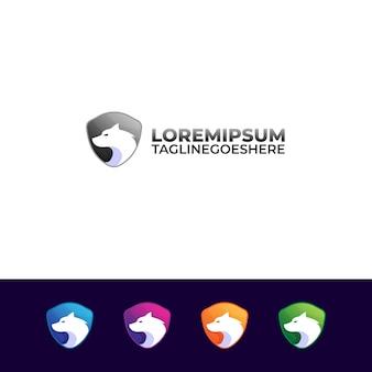 Logo de loup et bouclier