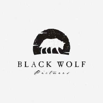 Logo loup rustique silhouette hipster pour la production de films