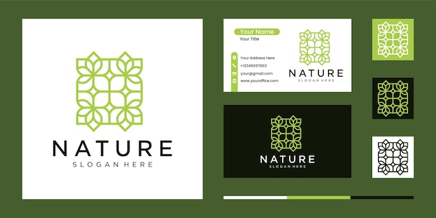 Logo de luxe abstrait nature avec style d'art en ligne et carte de visite