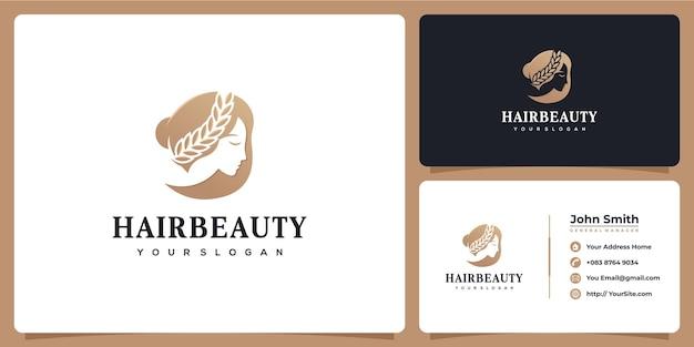 Logo de luxe de beauté de cheveux de femme avec la carte de visite