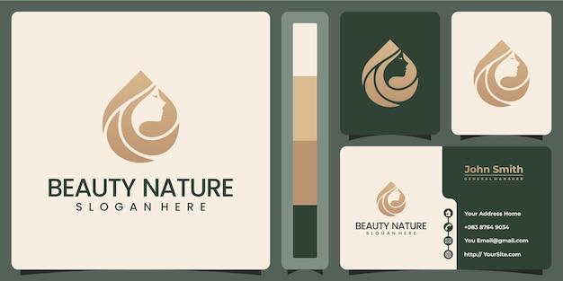 Logo de luxe beauté nature femme avec modèle de carte de visite