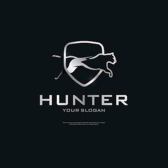Logo de luxe bouclier de guépard métallique
