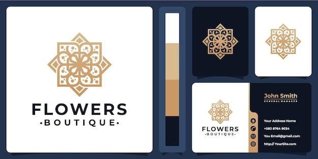 Logo de luxe boutique fleur avec conception de carte de visite
