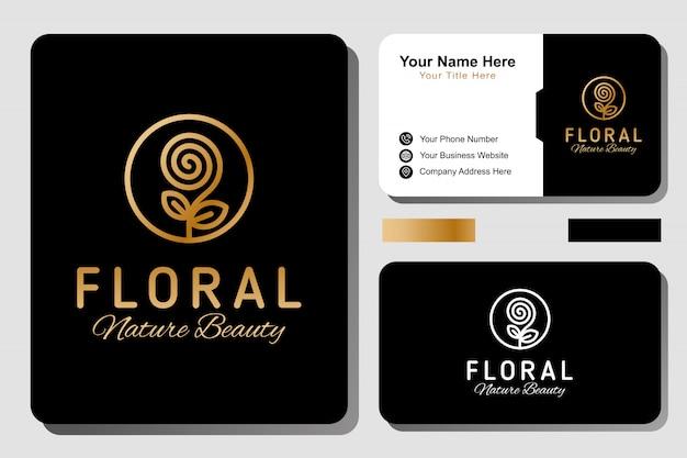 Logo de luxe élégant spa beauté nature florale. fleur dorée ou logo rose avec modèle de conception de carte de visite