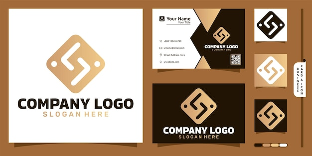 Logo de luxe de l'entreprise avec concept moderne de personnes et conception de cartes de visite