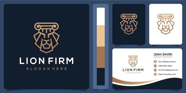 Logo de luxe entreprise lion avec modèle de carte de visite