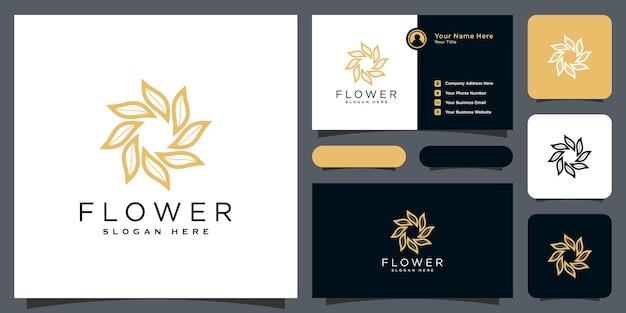 Logo de luxe de feuille de fleur avec la conception de carte de visite