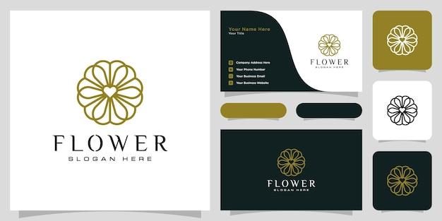 Logo De Luxe Fleur Mono Ligne Avec Conception De Carte De Visite Vecteur Premium