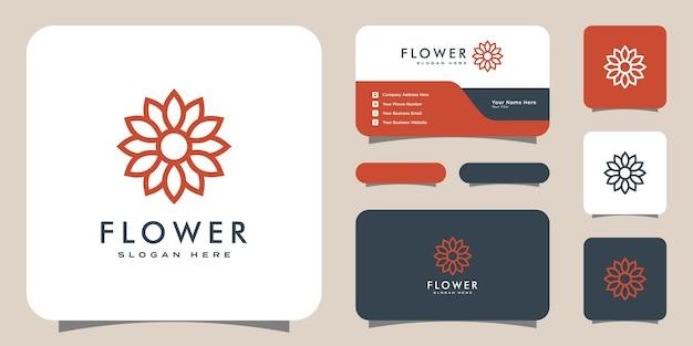 Logo de luxe fleur mono ligne avec conception de carte de visite