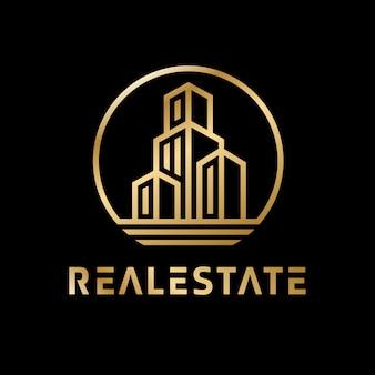 Logo de luxe immobilier doré