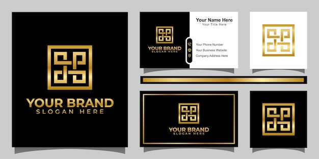 Logo de luxe lettre abstraite dp avec élément carré et conception de carte de visite