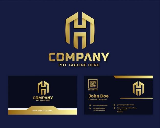 Logo de luxe lettre premium h modèle pour entreprise