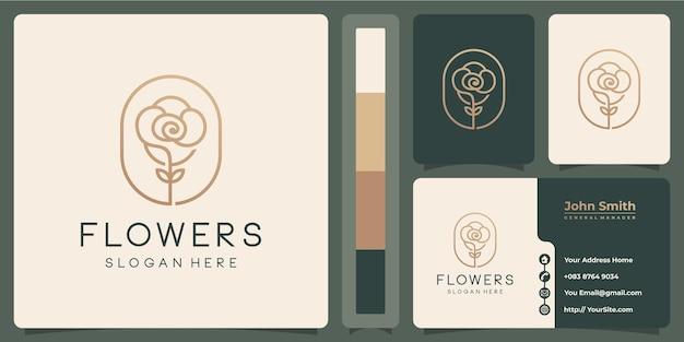 Logo de luxe monoline fleur avec conception de carte de visite