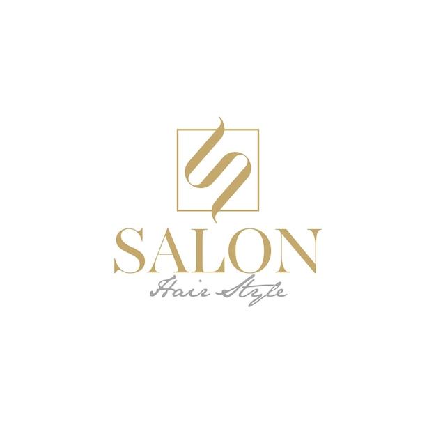 Logo de luxe pour salon de coiffure avec initiale s comme vecteur de logo premium cheveux