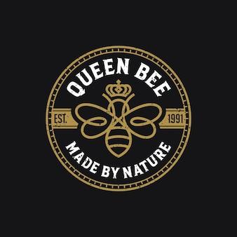 Logo de luxe de la reine des abeilles
