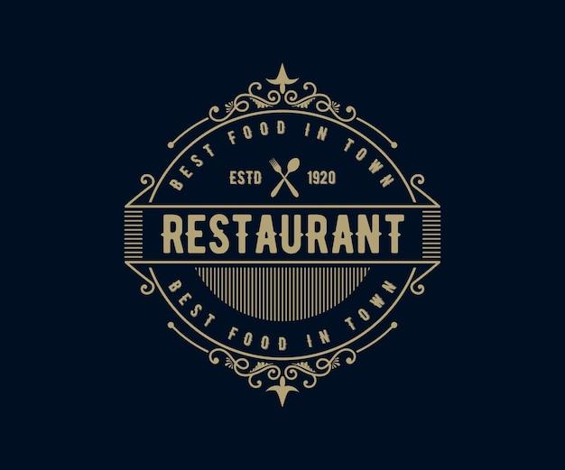 Logo de luxe rétro antique avec cadre ornemental pour café-restaurant de l'hôtel restaurant