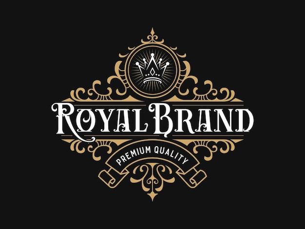 Logo de luxe royal avec ornement floral