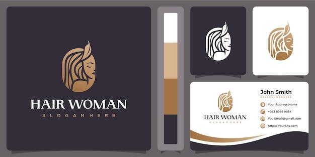 Logo de luxe de salon de coiffure femme avec modèle de carte de visite