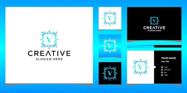 Logo de luxe v avec modèle de carte de visite