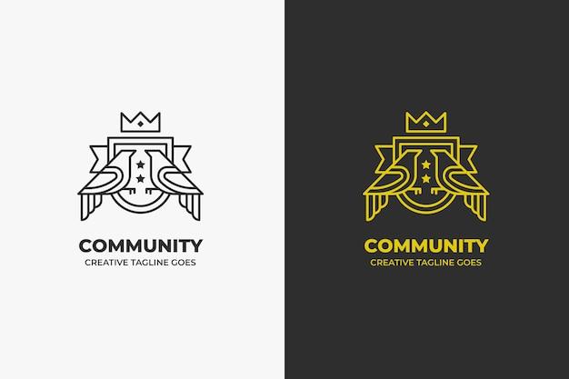 Logo de luxe vintage du palais du royaume