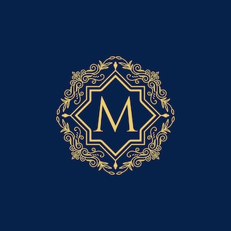 Logo de luxe vintage lettre m collection design