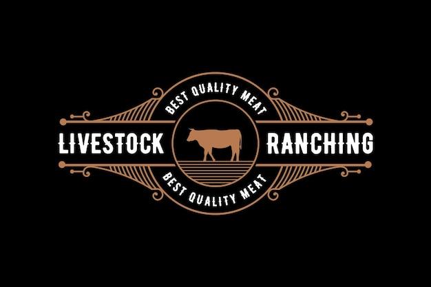 Logo de luxe vintage de style occidental d'élevage avec buffle de vache pour la marque de boucher de ranch d'élevage d'animaux