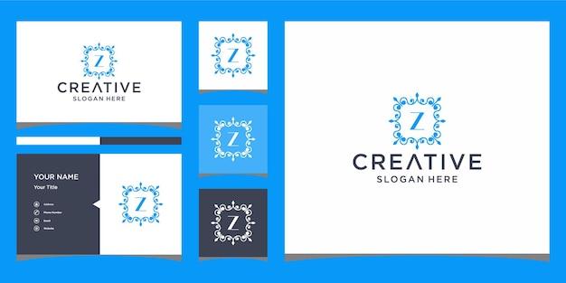 Logo de luxe z avec modèle de carte de visite