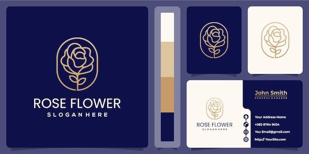 Logo luxueux de fleurs monoline avec modèle de carte de visite