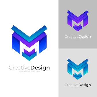 Logo m avec illustration design coloré, icône moderne
